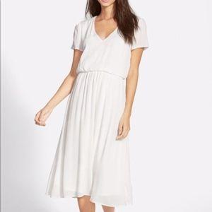 Wayf White Blouson Midi Dress